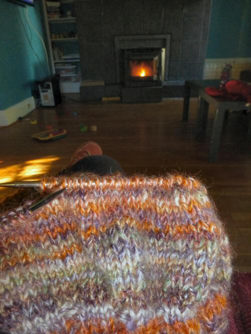 Knitting Handspun by the Fire…