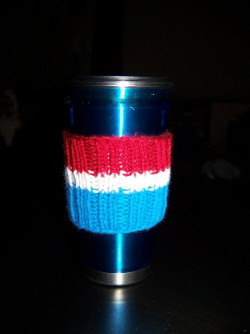 Striped Cup Sleeve by Knotted Strings...and Beady Things