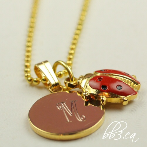Custom Engraved Lady Bug Necklace Gold: Personalized with Initial - bb3.ca