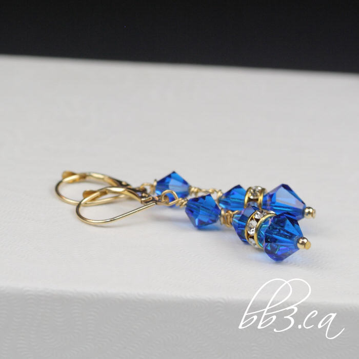 Bridget earrings in sapphire Swarovski crystal and 14kt gold filled