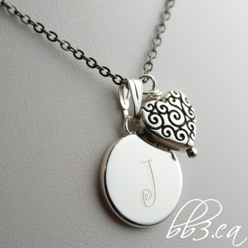 Sweetheart keepsake Necklace manually engraved with Initial