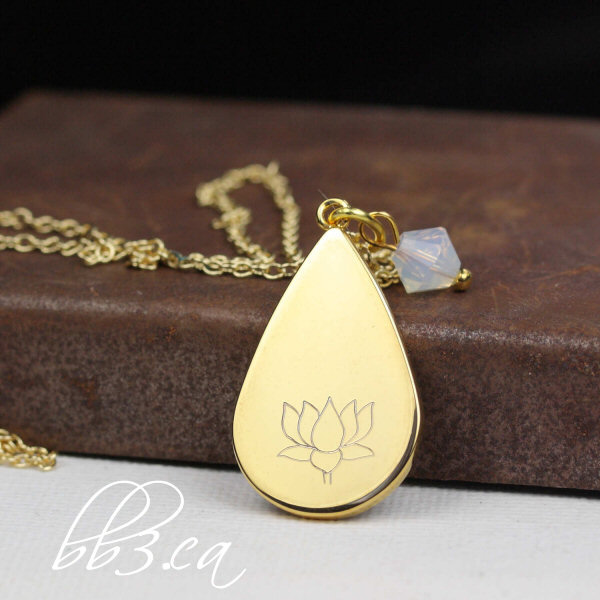 Engraved Lotus Teardrop Necklace – Now Available –