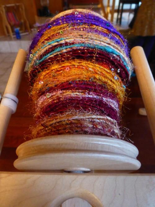core wrapped banana fiber yarn still on the bobbin