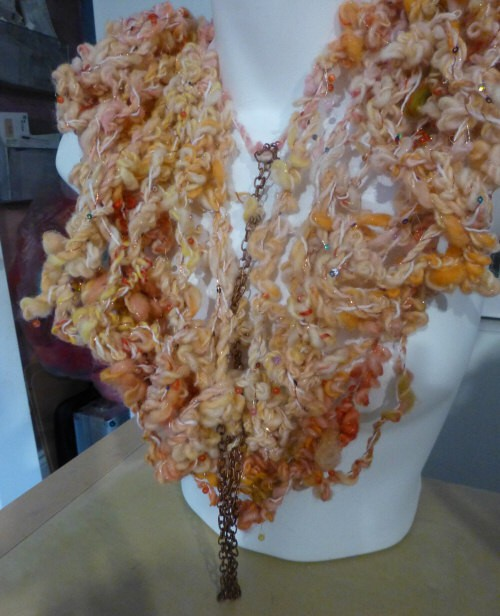 scarf; shrug; accent piece: I am not sure exactly what I would call this but I am quite satisfied with how it turned out.
