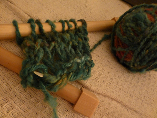 trying out the needles