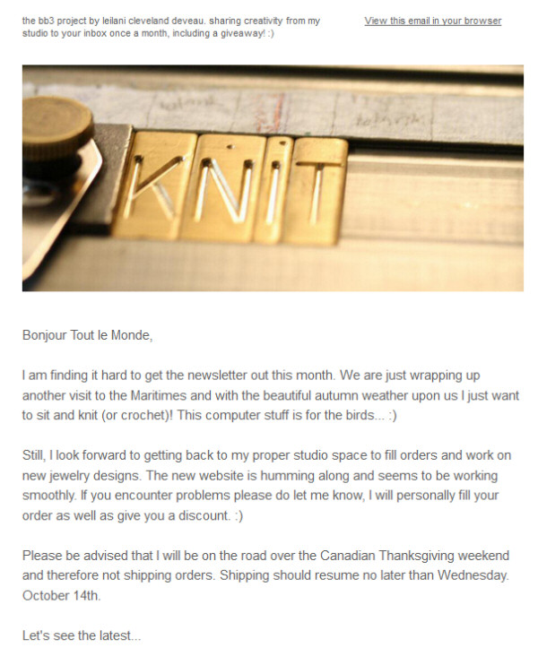 October 2015 Newsletter & Giveaway bb3.ca