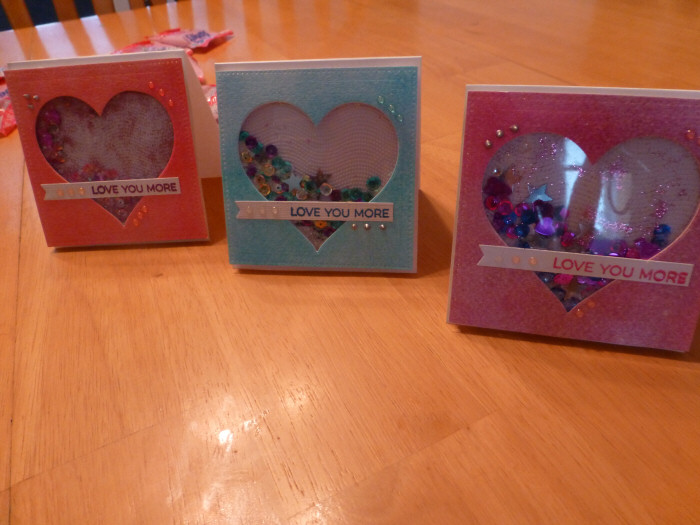 "Valentine Shaker Cards for my girls ""Love You More"""