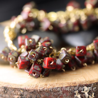 Clearance red nd gold glass bead cluster cha cha chunky bracelet