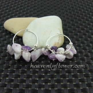 **SOLD OUT**Amethyst on sterling silver hoops