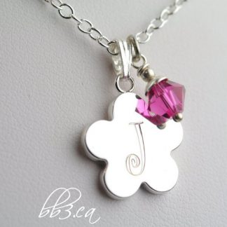 **SOLD OUT** Child's Engraved Silver Flower Necklace Personalized with Initial & Swarovski Crystal