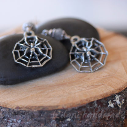 spider on web earrings with faceted labradorite