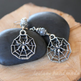 spider and web earrings with faceted labradorite gemstone accent