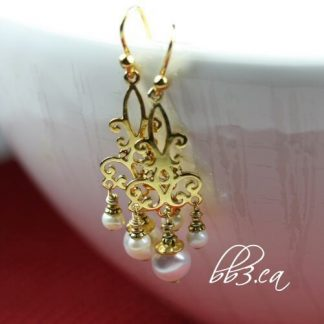 Gold Vermeil Chandelier Earrings with Pearls