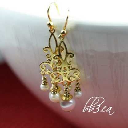 Gold Vermeil Chandelier Earrings with Pearls