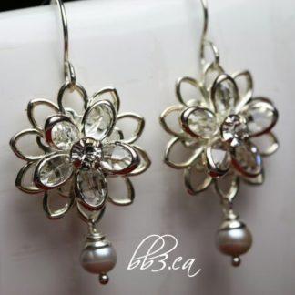 Swarovski Crystal Lily & Pearl Earrings