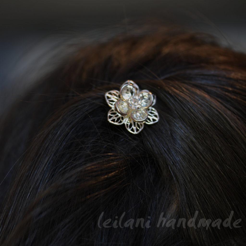 Swarovski crystal silver lily hairpin worn