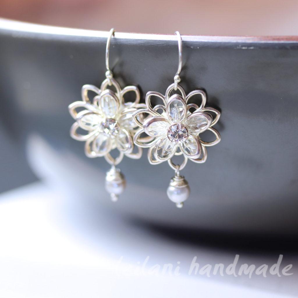 Swarovski crystal lily silver earrings