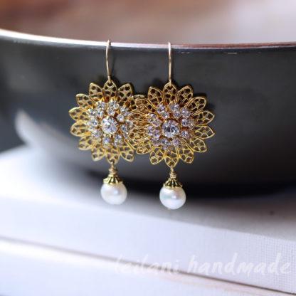 swarovksi gold fililgree sunflower earrings