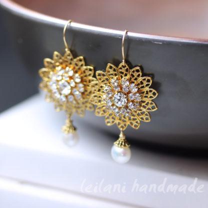 gold filigree swarovski sunflower earrings