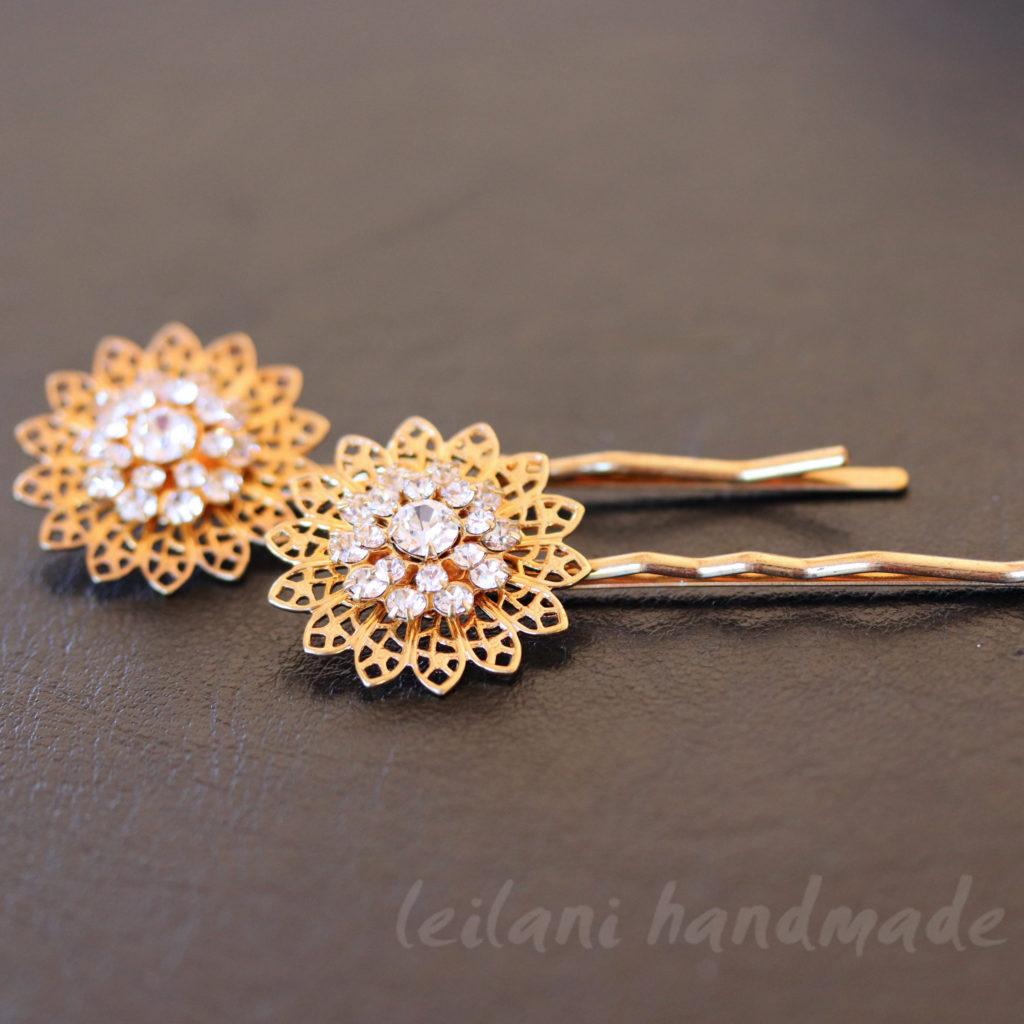 swarovski sunflower gold hairpins