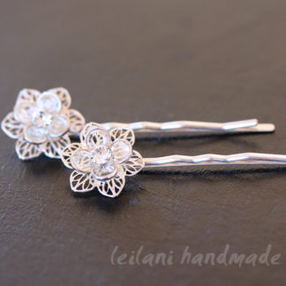 swarovski crystal lily silver hairpin