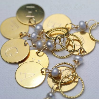 Stitch Markers: Engraved A-H Gold with Freshwater Pearls