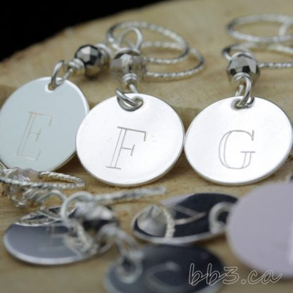 Stitch Markers: Set of 8 engraved A to H Silver