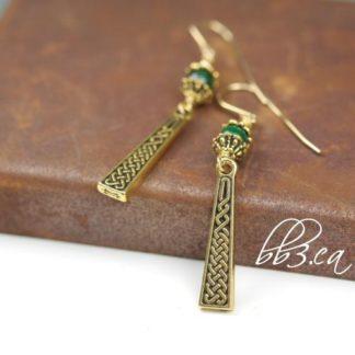Celtic Braid Earrings Silver or Gold Malachite or Onyx Stone