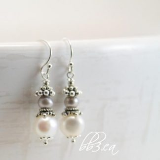 Pearl Earrings - Elegant Two-Tone Dangle - June's Birthstone