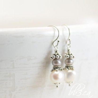 Pearl Earrings - Elegant Two-Tone Dangle - June's Birthstone