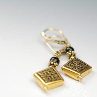 Celtic Diamond Earrings: Silver or Gold, Malachite or Onyx