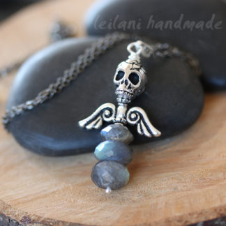 dark angel skull and wings pewter charm faceted labradorite gemstone stack