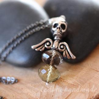 lemon smokey quartz dark angel pendant