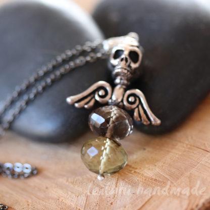 faceted lemon smokey quartz pendant skull and wings
