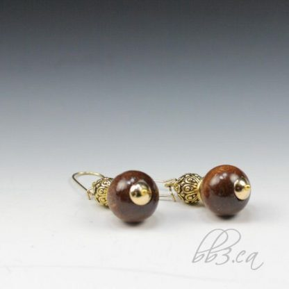 Wood & Pewter Earrings - Silver or Gold
