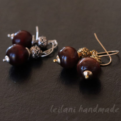 wood and pewter earrings silver or gold
