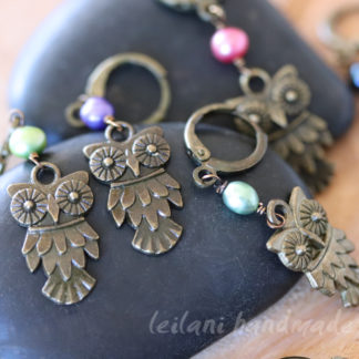 antiqued owl stitch markers for crochet or knitting