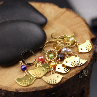 gold birdie stitch markers