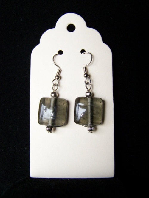 Gray Glass Bead Earrings by Knotted Strings...and Beady Things