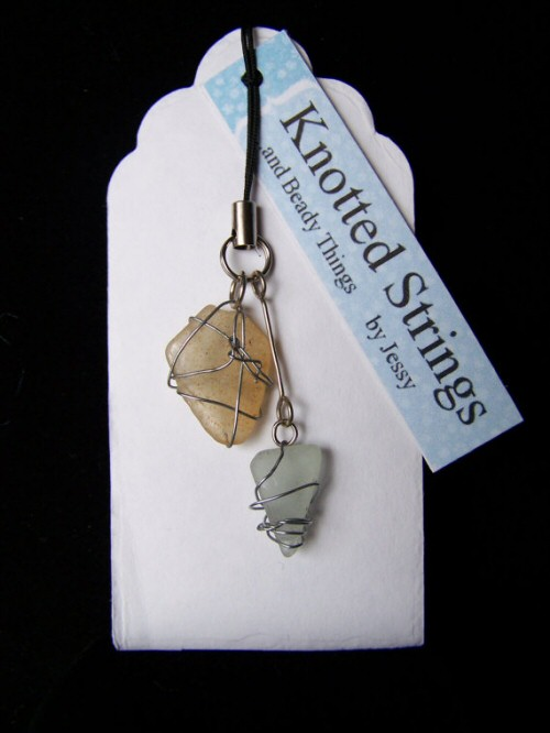 Natural Sea Glass Charm by Knotted Strings...and beady Things