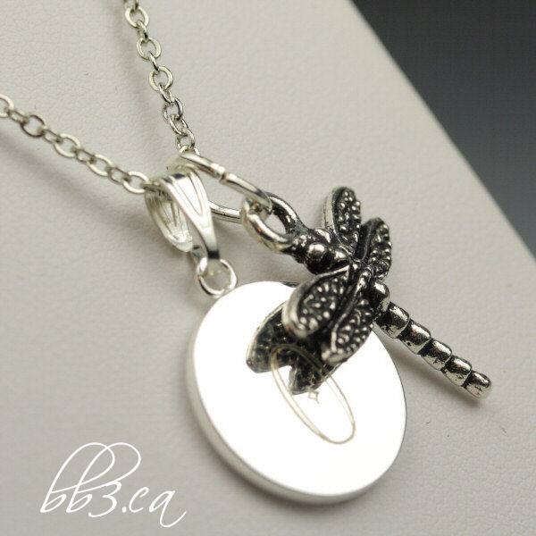 dragonfly necklace engraved gift