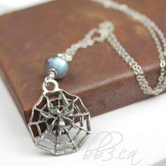 Spider on web Labradorite Necklace
