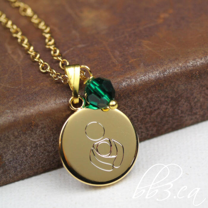 International Babywearing Symbol necklace in Gold