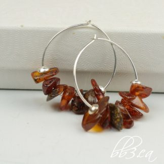 Amber Chip Sterling Silver Hoops