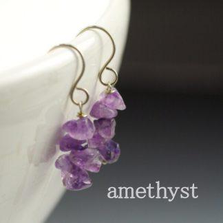 Amethyst Gemstone Chip Earrings