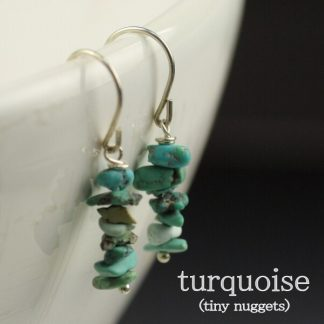 Turquoise stone mini nugget Earrings