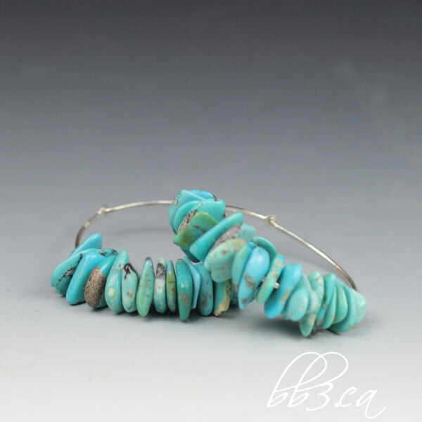 sterling silver turquoise chip hoops on sale at 40% off