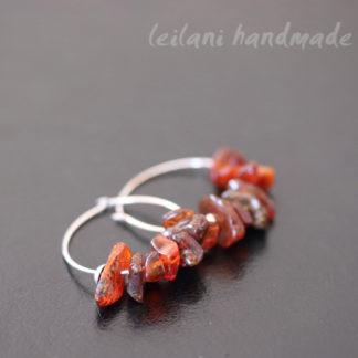 sterling silver amber gem chip hoops