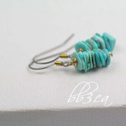 Turquoise Chip Earrings with Gold Accent