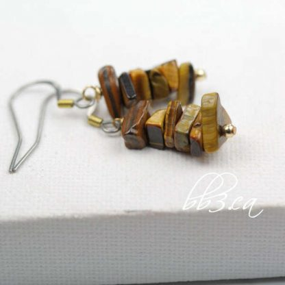 Tiger Eye Chip Earrings with Gold Accent